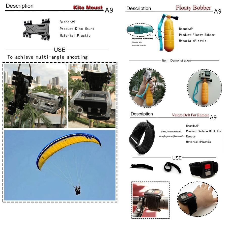 Go pro için Gopro aksesuarları için set A9 5 4 3 / SJCAM SJ4000 - Kamera ve Fotoğraf - Fotoğraf 4