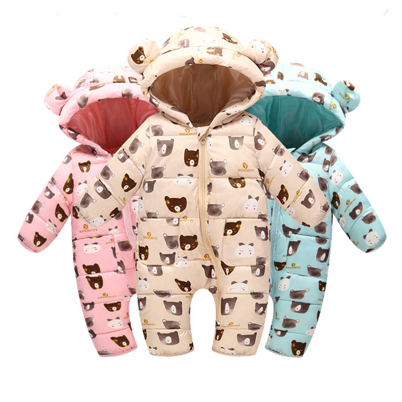 Baby Snowsuits Hooded Cute Bears Jumpsuit Down Cotton Jacket For Boys Girls Overalls Warm Coats Kids Clothes Infantil   Rompers