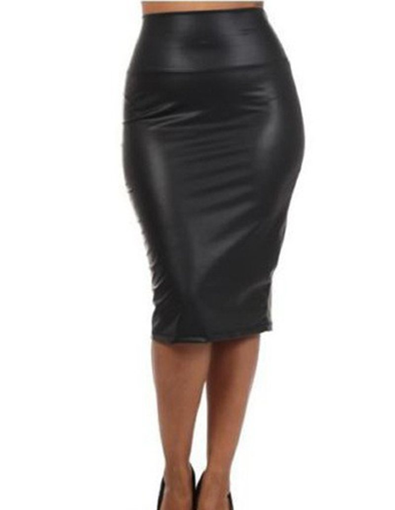 c558f4b141834f € 5.32 10% de réduction|Jupe cuir taille haute XL XXL XXXL noir rouge sexy  jupes crayon moyen long décontracté sirène jupe partie bar club ...