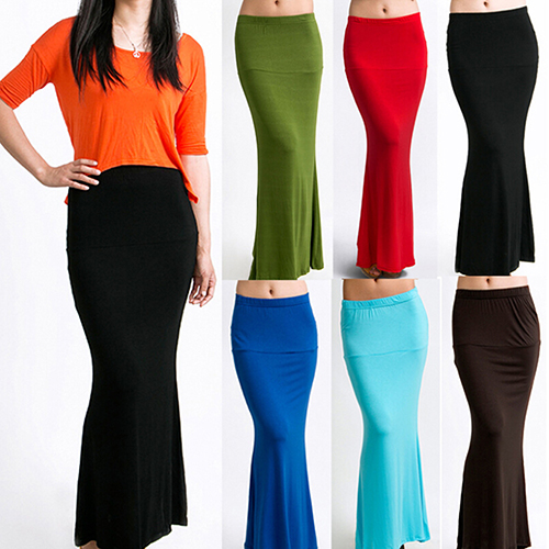 Fshion Women's Long Solid Maxi Skirt Candy Color Jersey Flared Summer Casual Skirt