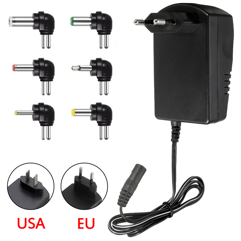 Multi Voltage 3v 4.5v 5v 6v 9v <font><b>12v</b></font> <font><b>DC</b></font> <font><b>Adaptor</b></font> Adjustable Power Adapter Universal Charger Power Supply Converter Cable 6 Plugs image