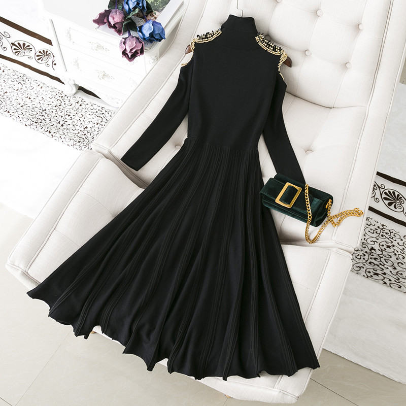 Female 2019 new long sleeved high waist knit hollow out shoulder winter dress