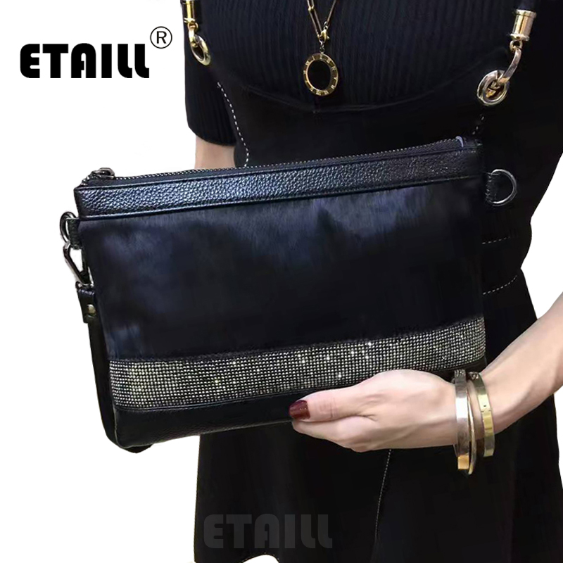 Diamonds Genuine Leather Horsehair Luxury Long Designer Famous Brand Clutch Ladies Hand Envelope Bag Day Clutche