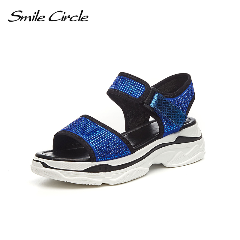 Smile Circle 2018 Summer sandals women Fashion Rhinestone Flat Platform shoes women Open Toes Sandals casual shoes red blue women creepers shoes 2015 summer breathable white gauze hollow platform shoes women fashion sandals x525 50