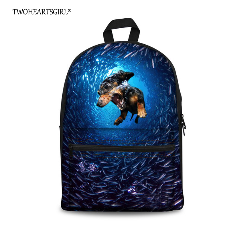 TWOHEARTSGIRL New Trend 3D Blue Ocean Animal for Kids Student Bag Marine Adventure Children Schoolbag Bear Dot Children Bookbag