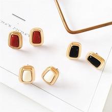 Metallic geometric style earrings retro simple square resin refined ladies popular Gifts wholesale