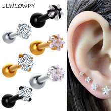 JUNLOWPY 2pcs Titanium Screw Ball 6mm Tragus Helix Earring Girl Woman Ear Cartilage Daith Barbell Lip Piercing Body Jewelry Drop(China)