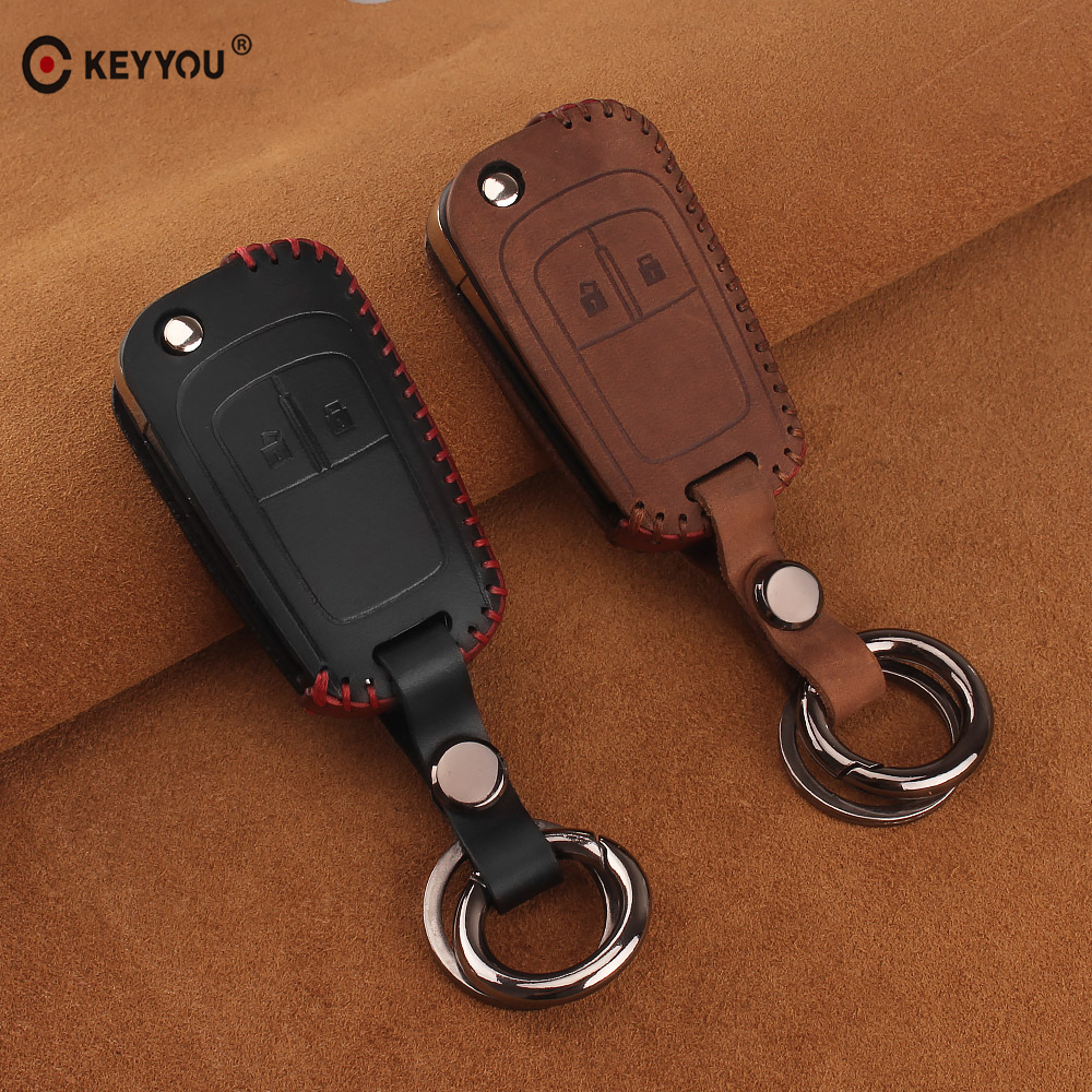 KEYYOU Leather keychain Car Key Cover Case For Chevrolet Cruze Epica Lova For OPEL VAUXHALL Astra H Insignia J Vectra C Corsa