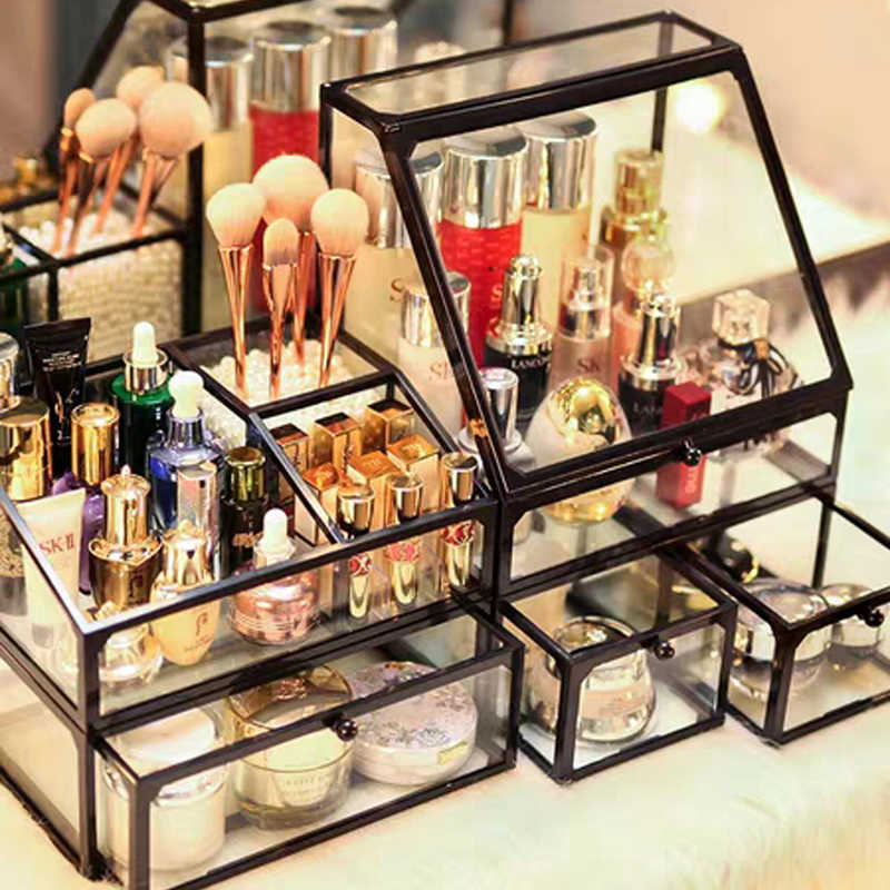 New Europe Glass Makeup Brush Storage Box Eyebrow Pencil DIY Cosmetic Drawer Makeup Organizer Jewelry Storage Holder Dropshiping