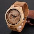 Moda Masculina relógios de Pulso Pulseira de Couro Genuíno Marrom Dos Homens De Madeira De Bambu Presente Legal Tigre Escultura De Madeira Relógio De Pulso de Quartzo Casual