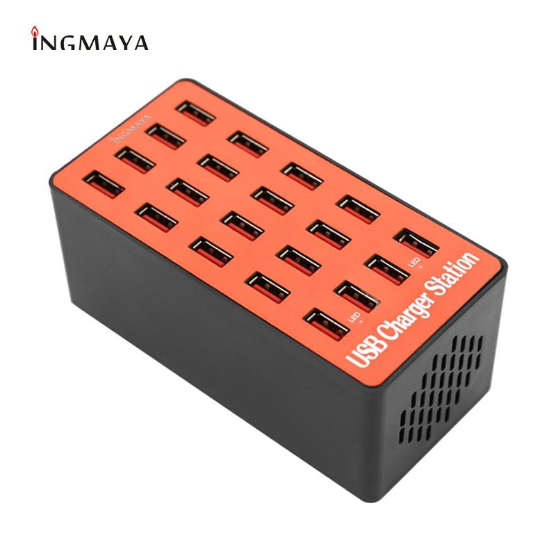 Chargeur USB INGMAYA 20 Ports 5V18A Station de recharge LED Point 2.4A pour iPhone iPad Samsung Huawei Nexus Mi Oneplus adaptateur secteur