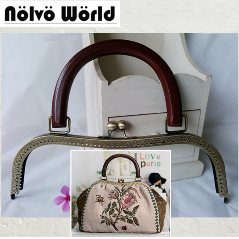 5pcs,or 10pcs 26cm M-type Purse Kiss Metal Frame,Wood handle 2 metal beads handbag bag Metal Frames