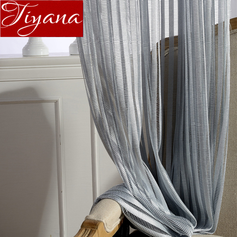 Hollow Curtain Gray Window Bedroom Solid Voile Living Room Sheer Fabric Curtain Drapes Kitchen Blind Treatment Custom T&097#30