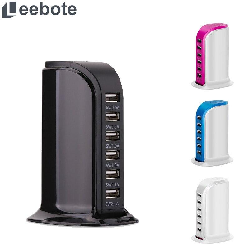 Leebote 6-Port USB Charging Station Multiple Power Socket Smart Phone USB Charger For IPhone Samsung Xiaomi Desktop Charger