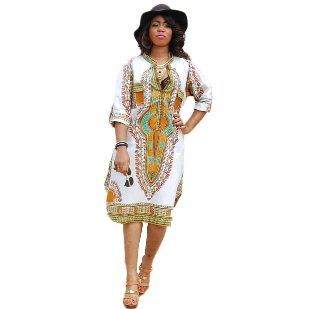 3c62d7eb06cf4 US $7.52 50% OFF|2018 Summer Women Traditional African Print Party Dress  New Design Dashiki Dress Sexy Casual Dresses Clothing Plus Size XL-in  Dresses ...