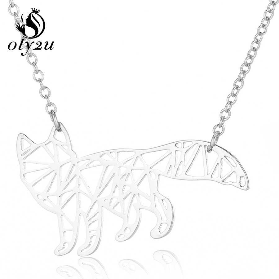 Oly2u zwierząt Fox Origami naszyjnik dla kobiet Choker ze stali nierdzewnej naszyjniki z wisiorkami ze stali nierdzewnej długi łańcuch komunikat naszyjnik bijoux