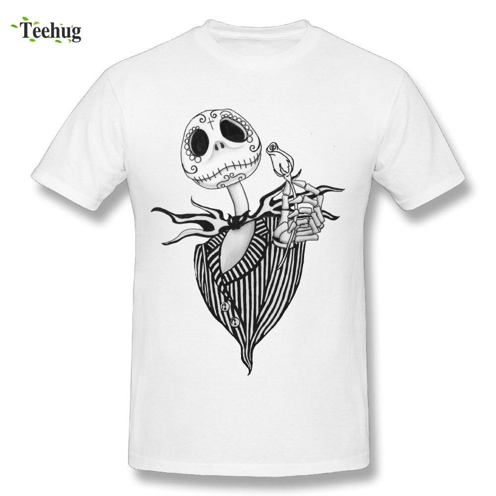Awesome Men Sugar Skull Jack Skellington T-Shirts 100% Cotton Graphic Printing T Shirts