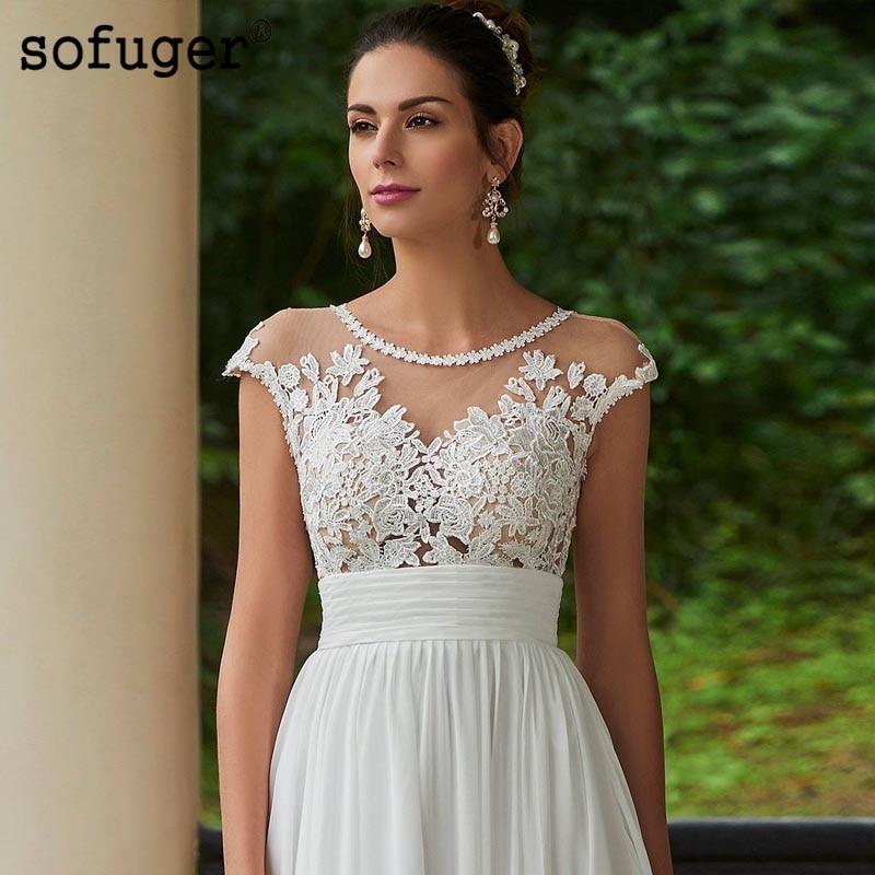 White Ivory Beach Wedding Dresses Scoop Tank Appliques Zipper Court Train Bridal Gown Wedding Vestidos de Noivas Custom in Wedding Dresses from Weddings Events