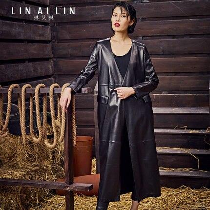 2017 женщин Кожа Пальто Длинный Участок Кожи Овец Пальто Простой Тонкая Куртка Ветровка