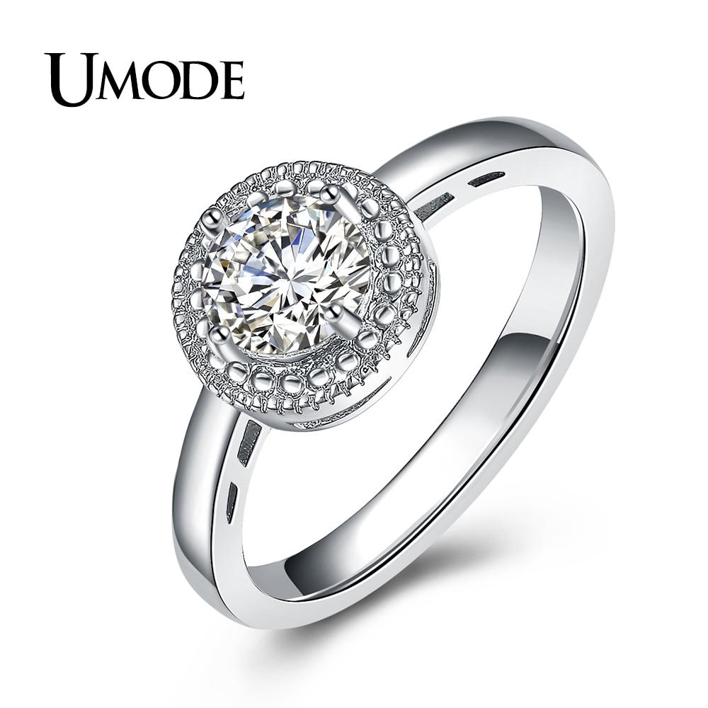 UMODE značky kulaté kubické zirkony křišťál svatební a zásnubní prsten pro ženy bílé zlato barva Anillos Mujer dárek AUR0377