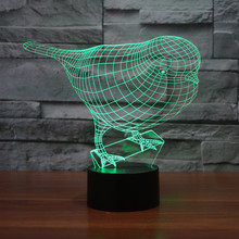 3D Optical Illusion Robin Birds Night Light, Multi Colors LED Home Decor for Baby Nursery and Kids Gift