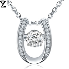 YL Dancing Topaz Pendant Necklaces for Women Fine Jewelry Real Pure 925 Sterling Silver Statement Necklace for Wedding