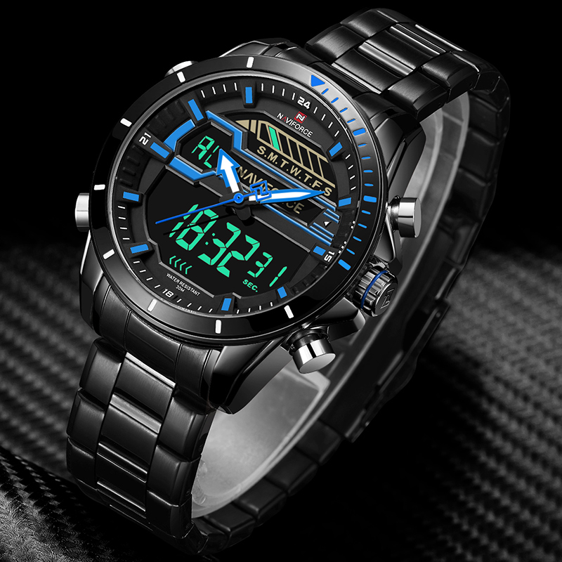 Men Sport Watches Men's Quartz Digital LED Clock Male Full Steel Army Military Waterproof Wrist Watch