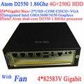 Intel Atom dual core D2550 1.86Ghz 4*82583V Gigabit LAN Wake on LAN Watchdog 4G RAM 250G HDD Windows Linux build a pc with fan