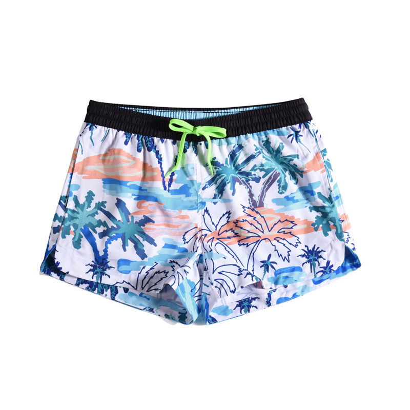 Fashion Summer 3D Shorts Women Tropical Plant Coconut Grove Print Drawstring Elastic Trunks Beach Womens Board Shorts