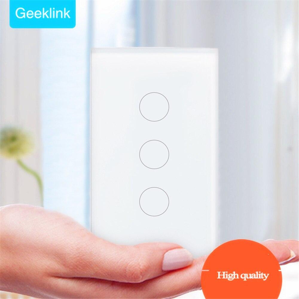 Geeklink US 3 Gang Smart Home WiFi interrupteur de lumière mur tactile Feedback APP télécommande automatisation travailler avec Alexa Google Home