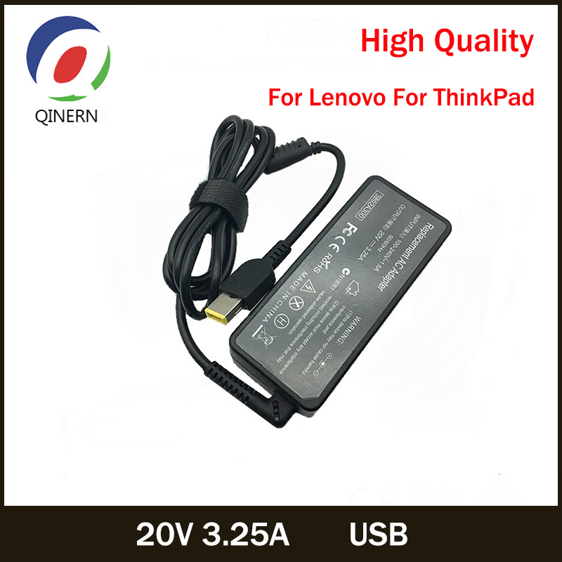 20V 3.25A 65W USB AC Laptop Charger Power Adapter For Lenovo Thinkpad X301S X230S G500 G405 X1 Carbon E431 E531 T440s Yoga 13
