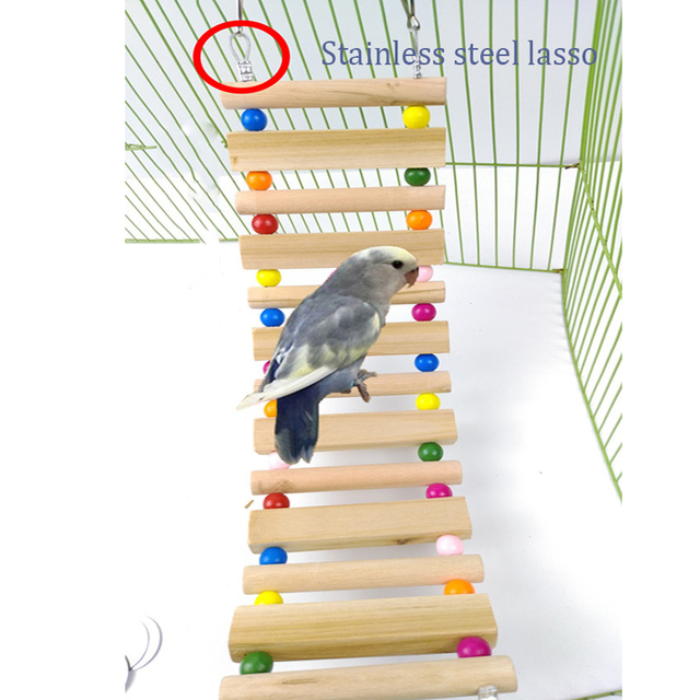 AHUAPET Parrot Toys Hammock With Stand Cage Platform Bird Cage Pappagallo Wood Stainless Steel Totoro Ladder Pigeon Supplies E 5