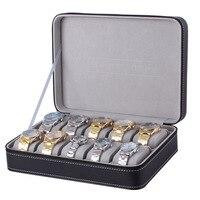10/12 Grids Leather Travel Watch Box Storage Case Zipper Wristwatch Box Organizer Holder for Clock Watches Jewelry Boxes Display