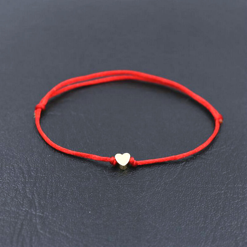 BPPCCR Minimalism Lucky Love Heart Shape Charm Bracelet Thin Red Rope Thread String Braid Bracelets For Men Women Couples Gifts