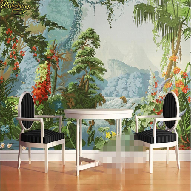 Beibehang Custom Photo Wallpaper European Retro Nostalgic Palace Hand  Painted Pastoral Rainforest Oil Painting Mural Wall Paper