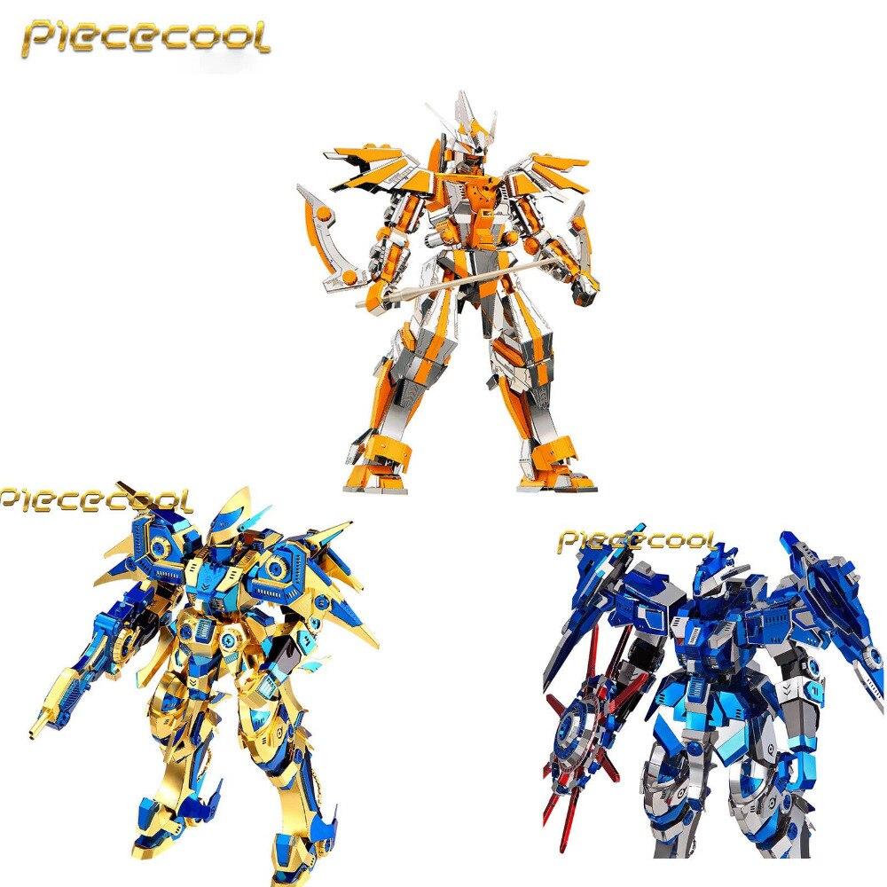 Morceau 3D métal assemblage Rotation magnétique bleu armure or Royal ciel croissant lame modèle Puzzle jouets créatifs enfants