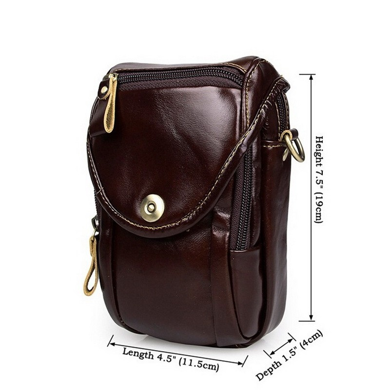 Causal cowhide leather men bags small crossbody men messenger bags genuine leather waist pack mini cell phone bag camera bag (4)