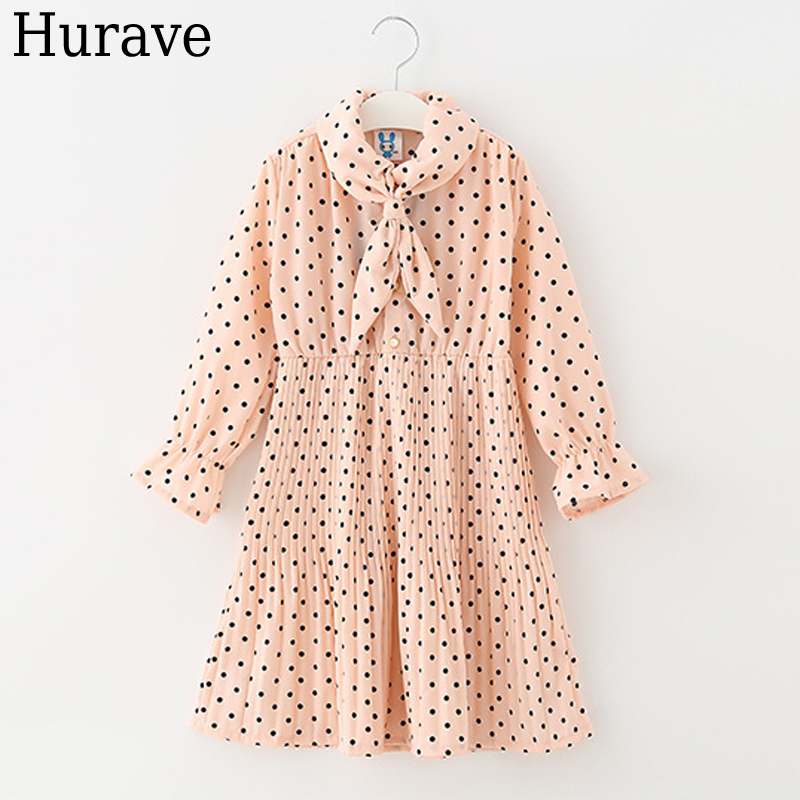 Hurave princess dress Autumn 2017 children's clothing pleated dress long-sleeved sweet girl clothes ноутбук hp 15 ba048ur 15 6 amd a6 7310 2 4ghz 4gb 1tb hdd x5c26ea