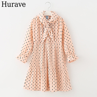 Hurave princess dress Autumn 2017 children's clothing pleated dress long-sleeved sweet girl clothes