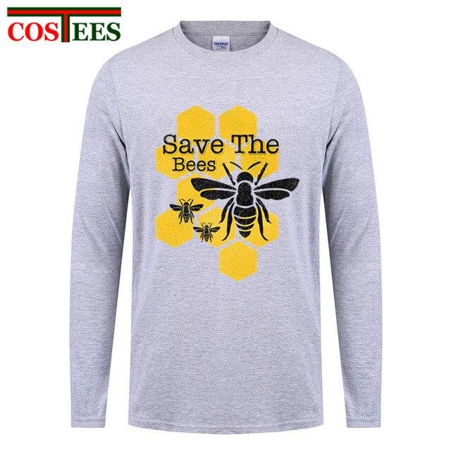 Men s Long Sleeve Graphic print Custom Big Size Primer Beehive Tshirt High  Street Honeycomb Save The 949ae0ab3
