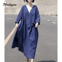 Nicelegant Printemps Robe D'été Solide Bleu Foncé Colorant Lâche 2018 Lin Coton Vintage Casual D'origine Femmes Robes Femme