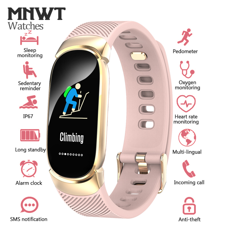 MNWT Brand Smart Sport Watch For iOS Android Pedometer Heart Rate Monitor Blood Oxygen Fitness Tracker Smart Wristband Watches title=