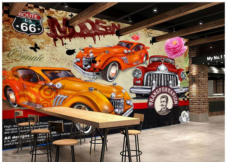 3d wallpaper custom photo non woven mural picture the for Car wallpaper mural