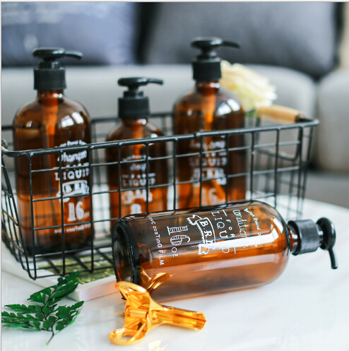 Nodic Style Brown Color Dispenser Hand-press Soap Bottle Bath Shower Liquid Bottle Shampoo & Conditioner Glass Dispenser Bottle