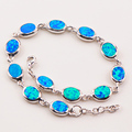 "Free Shipping Blue Fire Opal 925 Sterling Silver Hotsale Wholesale&Retail Beautiful Jewelry Bracelet 7.5""+0.5"" P82"
