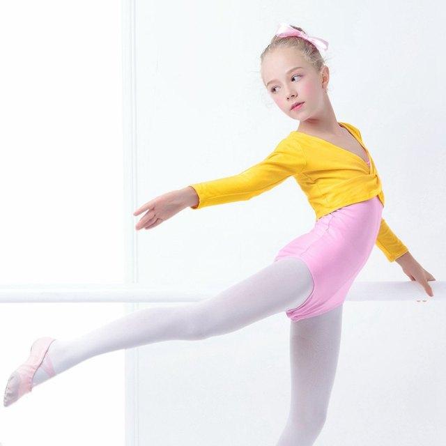 Girls Kids Ballet Leotards Coat Pink High Waist Dance Clothes Children Long Sleeve Gymnastics Leotard Overall