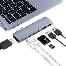 AHHROOU Тип usb C концентратор к Card Reader USB C Hub 3,0 адаптер комбо с TF SD слот для MacBook Pro 2016 2017 USB-C Мощность доставки