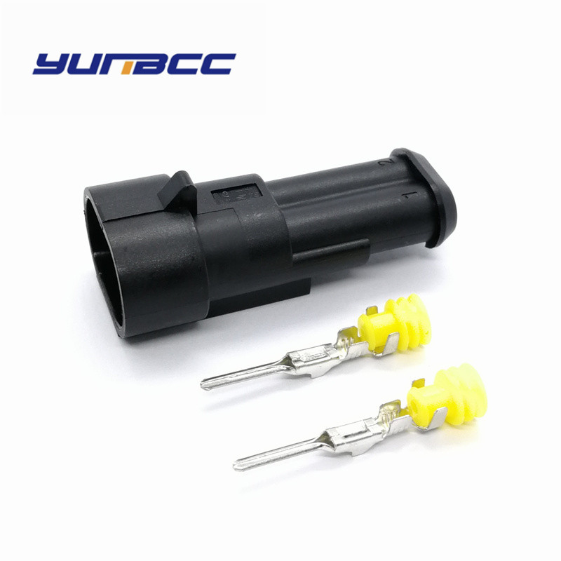 Conjuntos 5 tyco amp auto foglight modificado plugue 2pin masculino auto fio conector do cabo de 282104-1