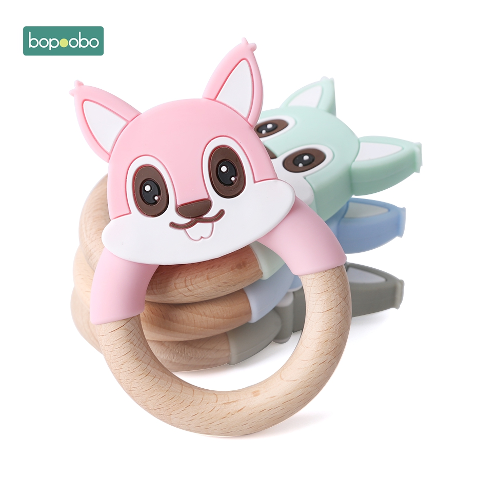 Bopoobo 1pc Baby Teether Silicone Squirrel Wooden Rings Teether Silicone Rodents Teether Wood Baby Silicone Mouse Teether