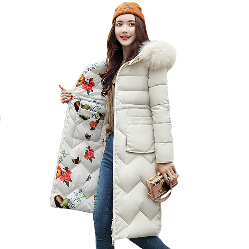 2019 Double 2 sides Women Winter Jacket Hooded With Fur Collar Slim Female Padded   Down     Coat   Long Ladies Parka Abrigos Mujer